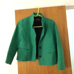Club Monaco Green Blazer Jacket Faux Leather Sz XS